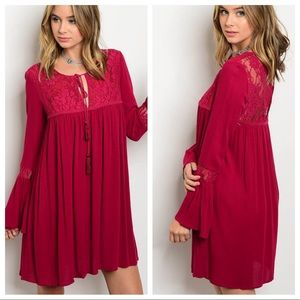 Wine lace babydoll dress bell sleeves rayon